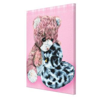 Teddy bear cuddles canvas wrap pink print canvas prints