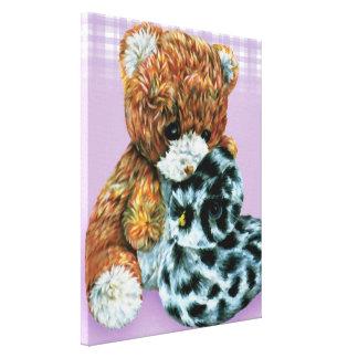 Teddy bear cuddles canvas wrap purple print stretched canvas print