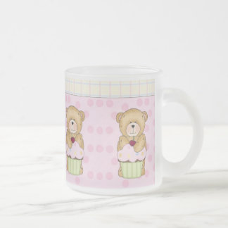 Teddy Bear Cupcake Party Frosted Glass Mug