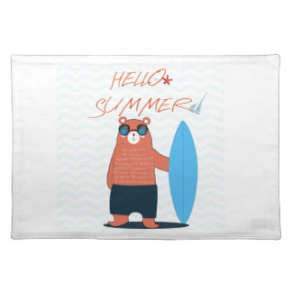 Teddy bear cute adorable beach funny theme placemat