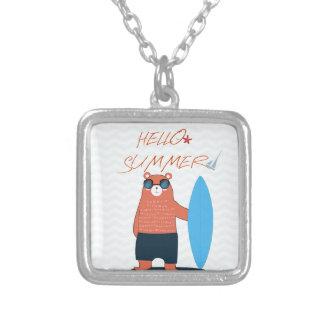Teddy bear cute adorable beach funny theme silver plated necklace