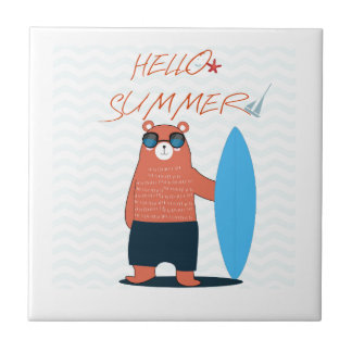 Teddy bear cute adorable beach funny theme tile