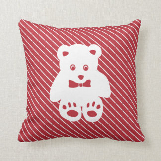 Teddy Bear Cutout on Red Throw Pillow