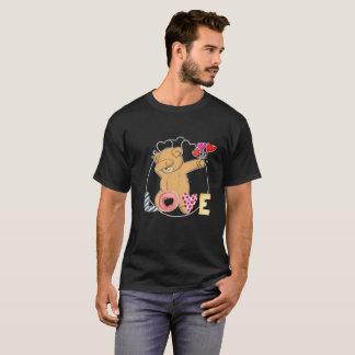 Teddy Bear Dab Valentine's Day Couple Heart Tee