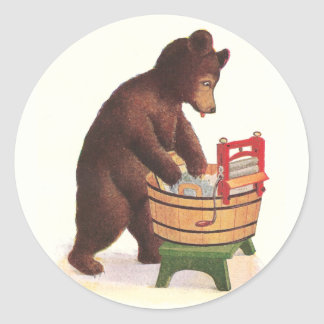 Teddy Bear Doing Laundry Round Sticker
