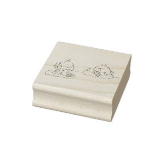 Teddy Bear Dreaming of Eating a Cupcake Rubber Stamp