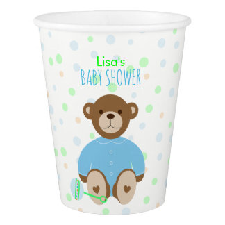 Teddy Bear Dressed in Blue Baby Shower Paper Cup