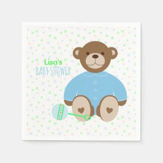Teddy Bear Dressed in Blue Baby Shower Paper Napkins