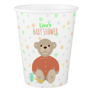 Teddy Bear Dressed in Coral Baby Shower Paper Cup
