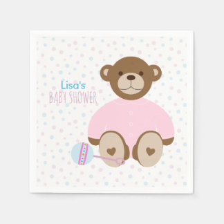 Teddy Bear Dressed in Pink Baby Shower Paper Napkins