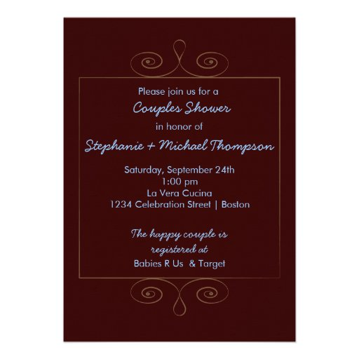 Teddy Bear Family Couples Baby Shower Personalized Announcements