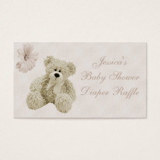Teddy Bear Flowers Diaper Raffle Business Card