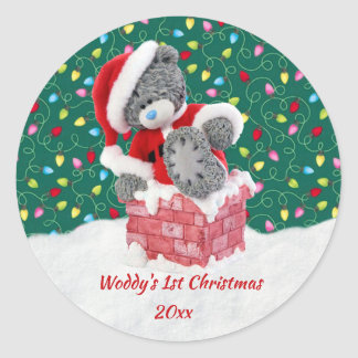 Teddy bear, garland lights baby's 1st Christmas Classic Round Sticker