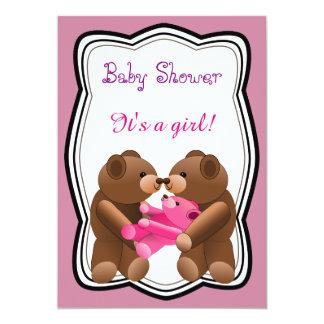Teddy Bear Girl Baby Shower Card