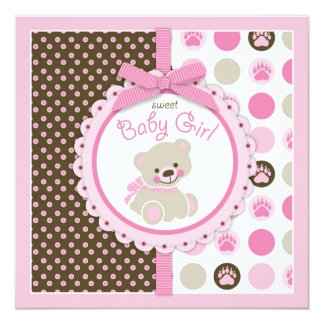 "Teddy Bear Girl Baby Shower Pink 5.25"" Square Invitation Card"