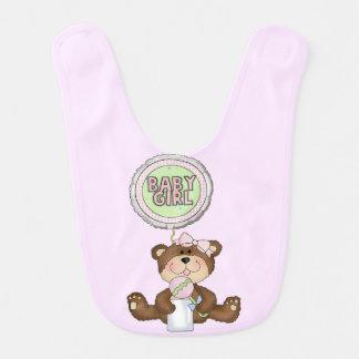 Teddy Bear Girl Pink Baby Bib