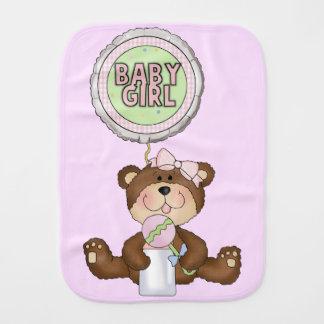 Teddy Bear Girl Pink Burp Cloths