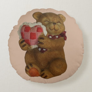 Teddy Bear Gives You It's Heart Round Pillow
