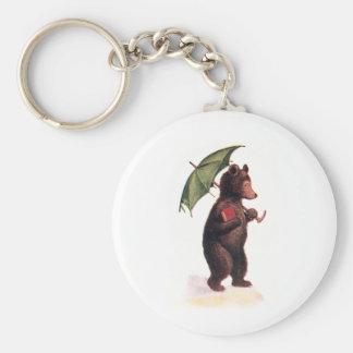 Teddy Bear Goes to Church Basic Round Button Keychain