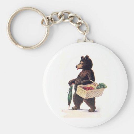Teddy Bear Goes to Market Key Chain
