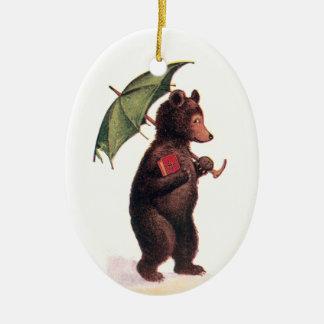 Teddy Bear Going to Church Ceramic Oval Ornament