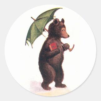 Teddy Bear Going to Church Round Sticker