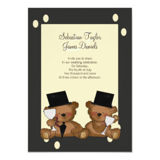 "Teddy Bear Grooms Wedding 4.5"" X 6.25"" Invitation Card"