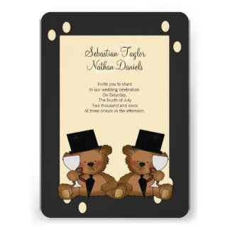 Teddy Bear Grooms Wedding Personalized Invitation