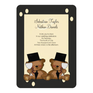 "Teddy Bear Grooms Wedding 4.5"" X 6.25"" Invitation Card"