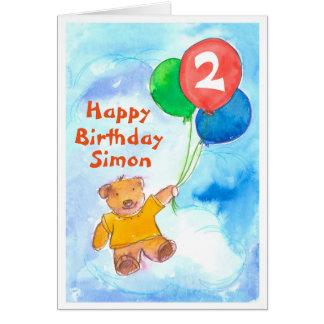 Teddy Bear Happy 2nd Birthday Custom Card