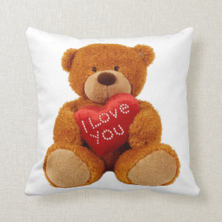 "Teddy bear holding with ""I LOVE YOU""cushion. Throw Pillow"