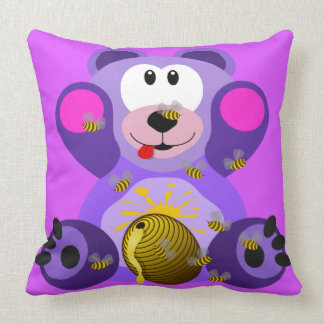 Teddy Bear Honey Bees Throw Pillow for Kids