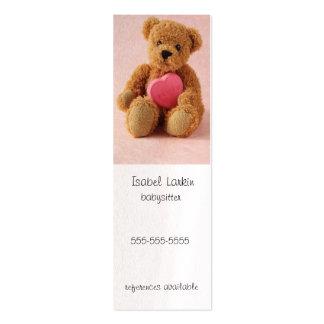 Teddy bear i luv u bookmark business card