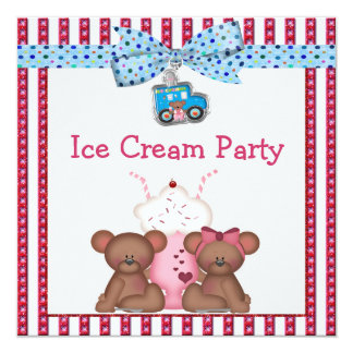 Teddy Bear Ice Cream Party Card