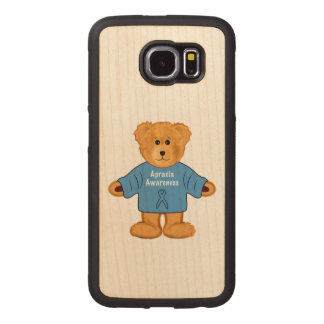 Teddy Bear in Apraxia Awareness Sweater Wood Phone Case