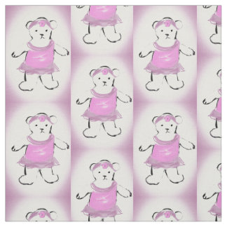 teddy bear in pink dress and headband fabric
