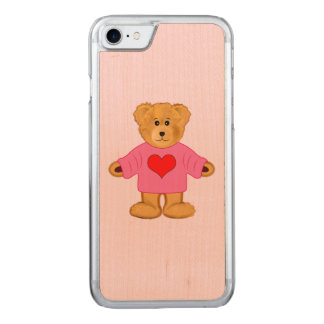Teddy Bear in Pink Sweater with Heart Carved iPhone 7 Case