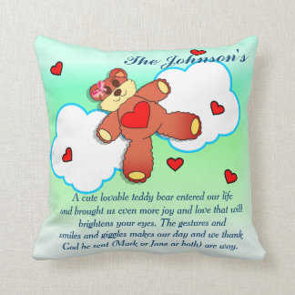 Teddy Bear In the Clouds Throw Pillow