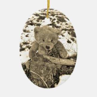 Teddy Bear in the Holly,Sepia tone Ceramic Ornament