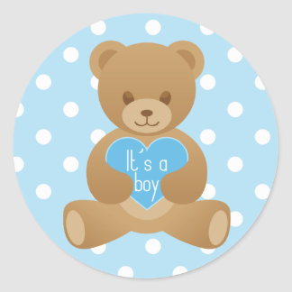 "Teddy bear ""It""s a boy"" blue sticker"