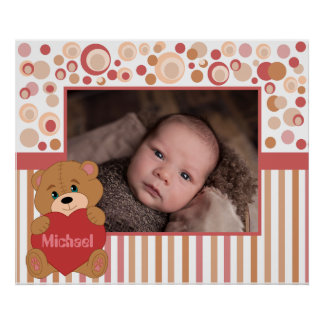 Teddy bear kids photo border poster
