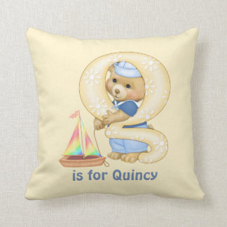 Teddy Bear Letter Q Monogram Pillow
