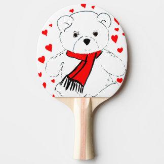 teddy bear love ping pong paddle
