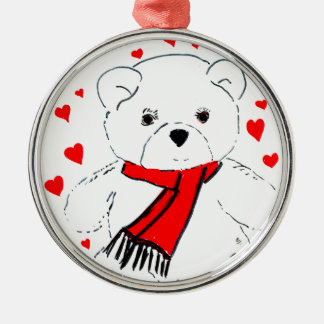 teddy bear love Silver-Colored round ornament