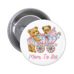 Teddy Bear Mom and Carriage - Pink 2 Inch Round Button