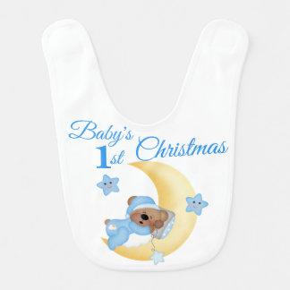 Teddy Bear Moon Star Babys Boy First Christmas Bib