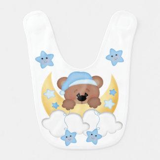 Teddy Bear Moon Star Babys Boy Woodland Animals Bib