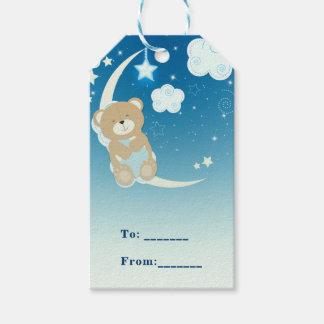 Teddy Bear Moon & Stars Baby Shower Custom Favor Gift Tags