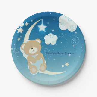 Teddy Bear Moon & Stars Baby Shower Sprinkle 7 Inch Paper Plate