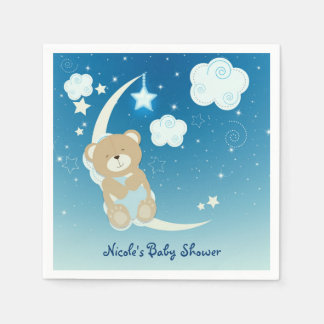 Teddy Bear Moon & Stars Baby Shower Sprinkle Party Paper Napkin